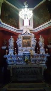 Inside the church on the island