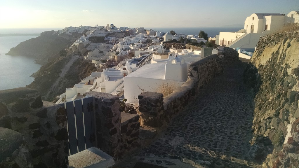 Looking down on the town of Oia