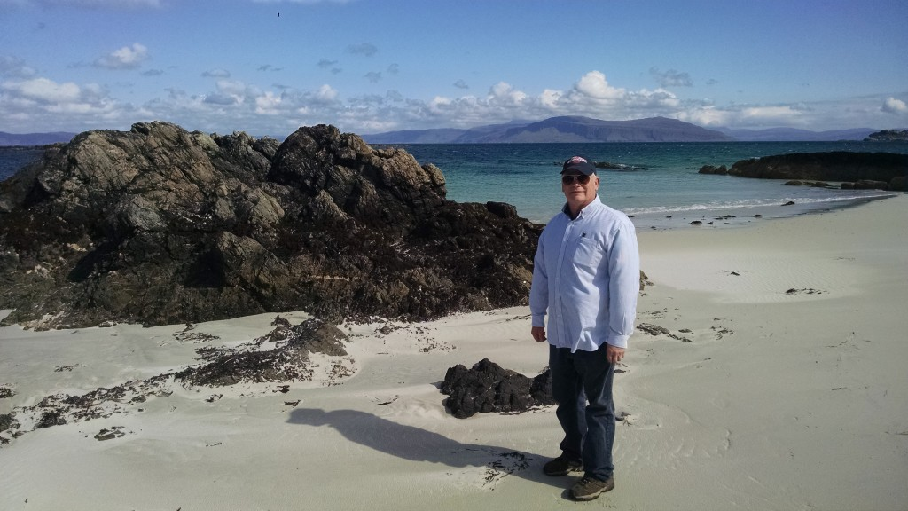 Dad on Iona Island beach